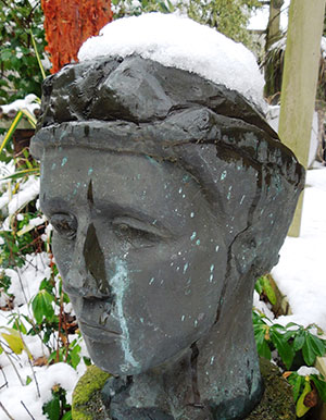 Bronze head with snow cap